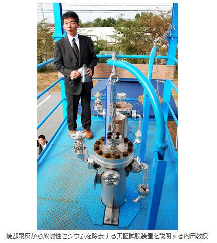 焼却飛灰から放射性セシウムを除去する実証試験装置